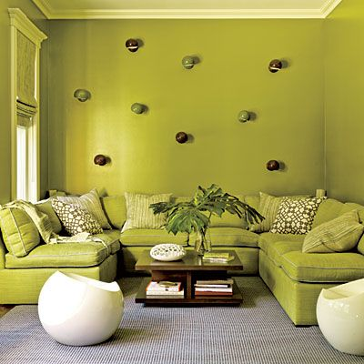 Experiment With a Single Color In the TV room, Amanda painted the walls a  vibrant