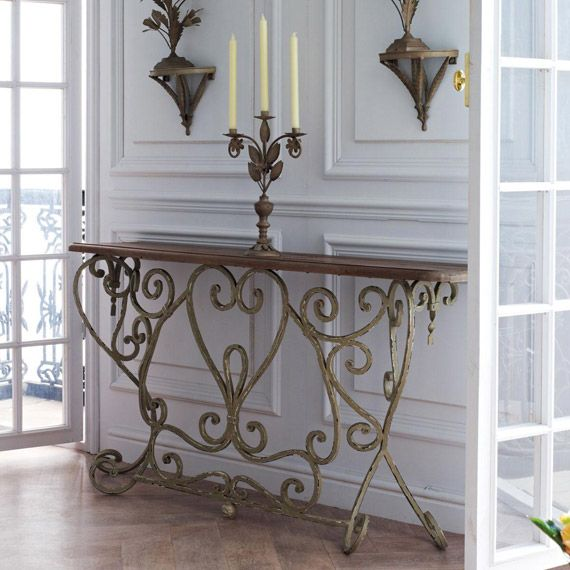Bastille French Style Console Table Narrow Recycled Pine Top Metal Legs Painted To An Aged Finish In Faded Taupe 1500 350 800 Hallway Okadirect