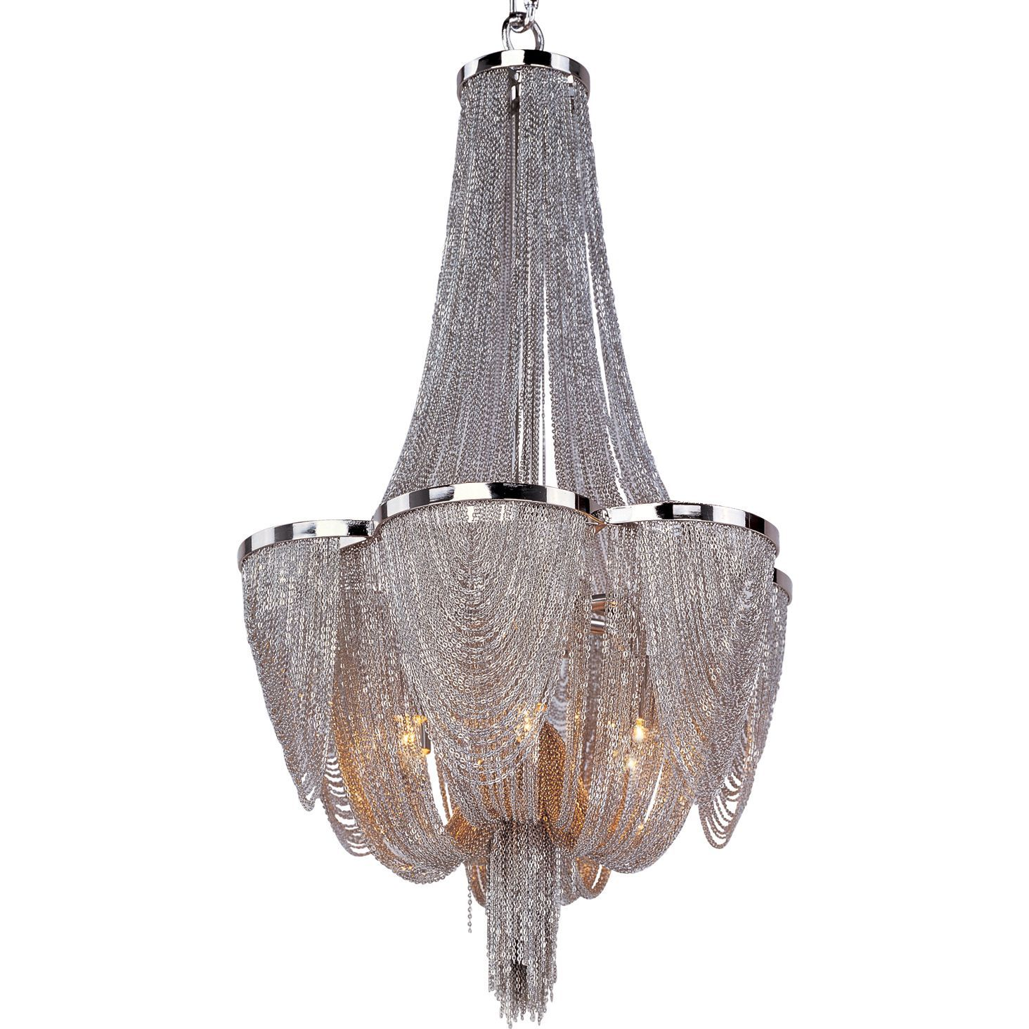 This incredible chantilly chandelier features a metal fram this incredible chantilly chandelier features a metal fram gracefully draped with nickel finished jewelry chain arubaitofo Image collections