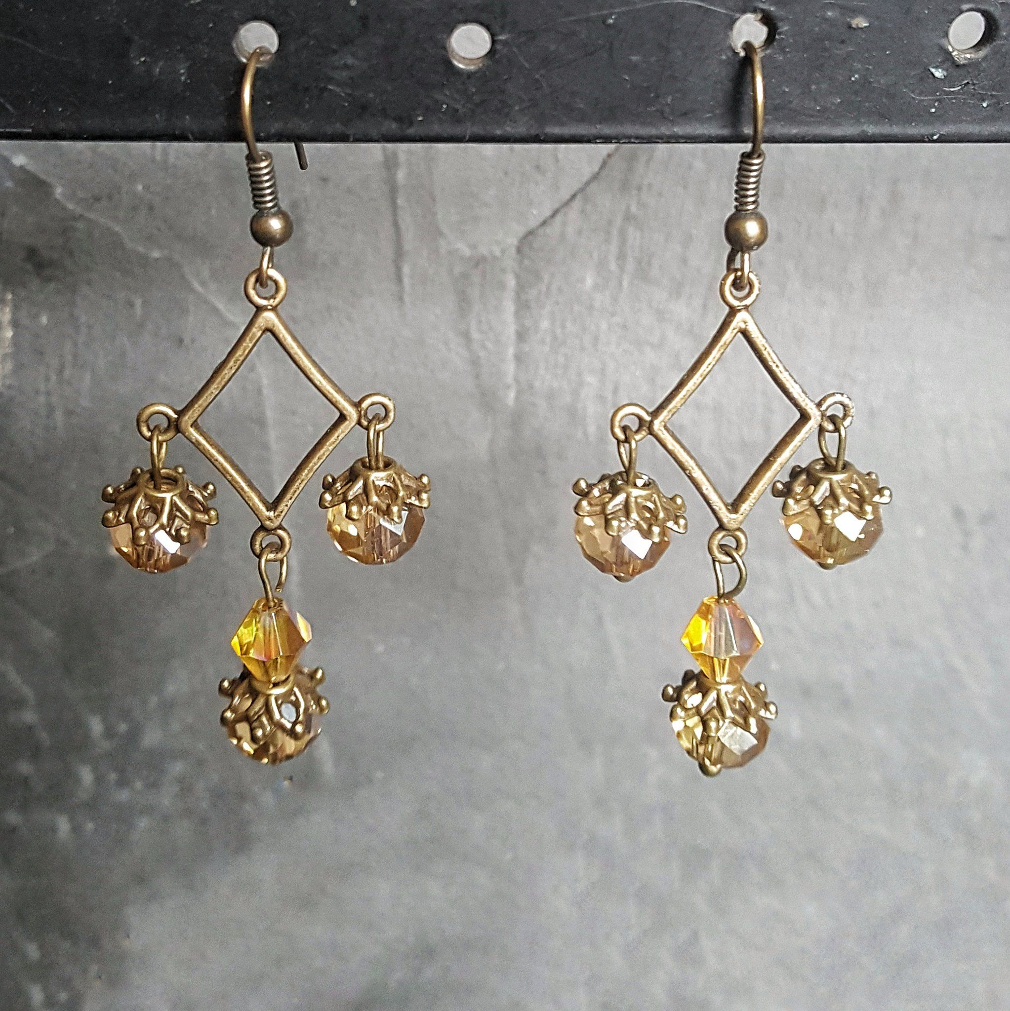 Amber Crystal And Bronze Chandelier Earrings
