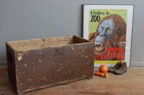 Malle en bois coffre à jouets vintage rétro bohème patiné années 50 brocante…