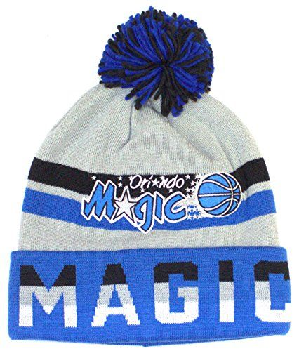 NBA Officially Licensed Orlando Magic Mitchell Ness Blue Gray Print Cuffed  Pom Beanie Hat Cap Lid    Learn more by visiting the image link. 92c63f48dad