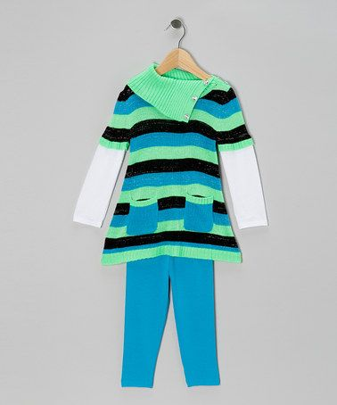 Take a look at this Aqua Turquoise Stripe Layered Tunic & Leggings - Toddler & Girls by Young Hearts on #zulily today!