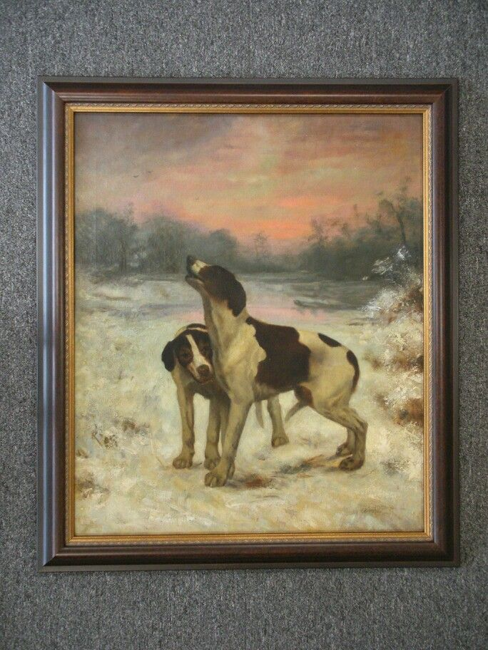 Oil painting of dogs richly framed