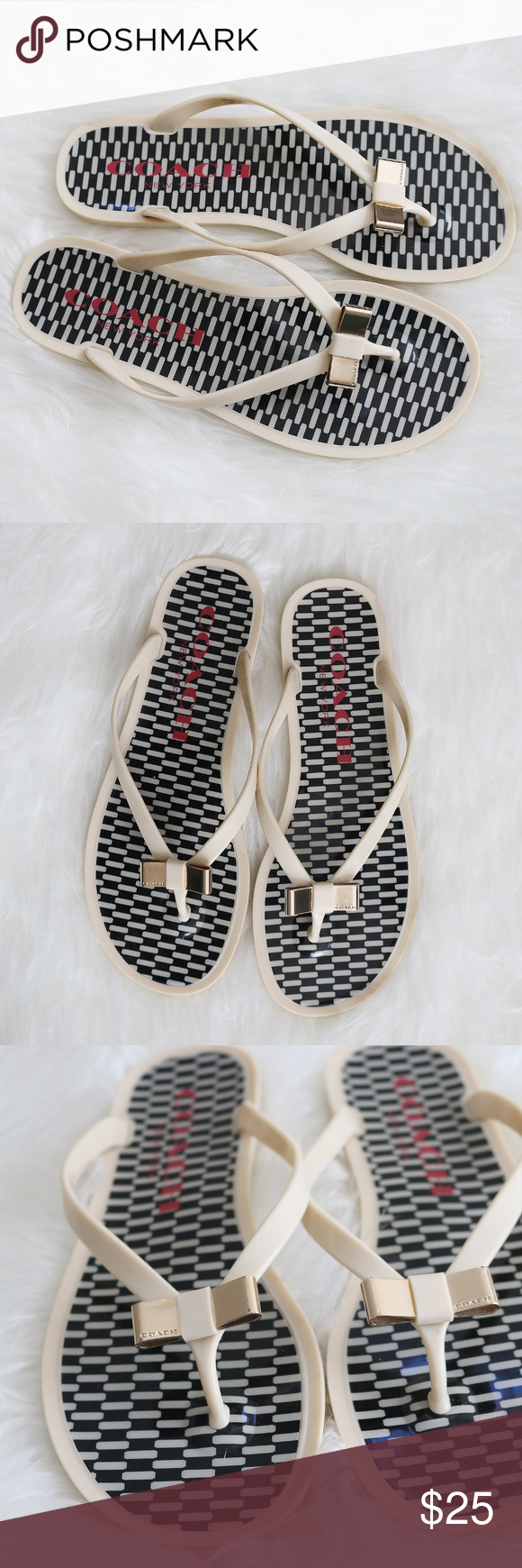 13bebf758e603 COACH Landon Jelly Flip Flops Cream Black 7B COACH Landon jelly flip flops.  Cream and black. Gold bow. Clean. Only noticeable wear is on the bottom.
