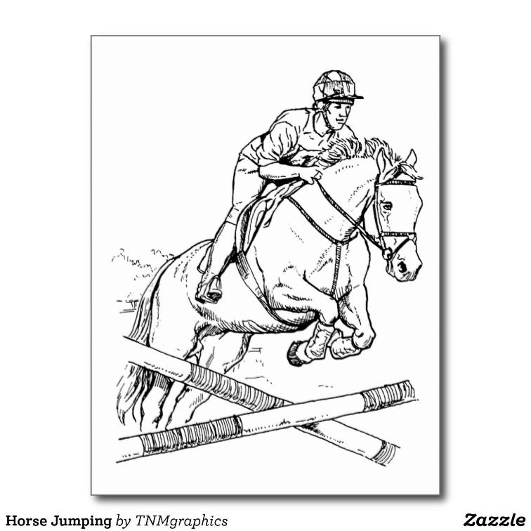 Line Drawing Of A Rider Jumping A Horse Over A Barrier Easy Horse Drawing Horse Coloring Pages Watercolor Horse Painting