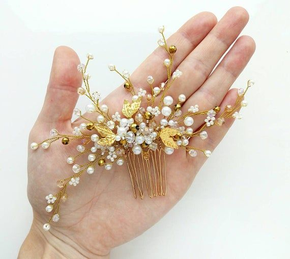 Bridal hair accessories Gold leaf Bridal hair comb Crystal bridal hair piece Wedding headpiece Bridal hair pins Silver flower wedding comb #bridalhairflowers