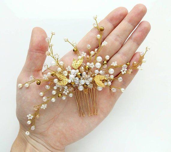 Bridal hair accessories Gold leaf Bridal hair comb Crystal bridal hair piece Wedding headpiece Bridal hair pins Silver flower wedding comb #bridalhairflowers
