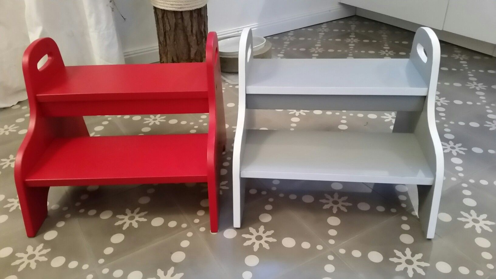 Ikea trogen footstool hack customized to match the color scheme