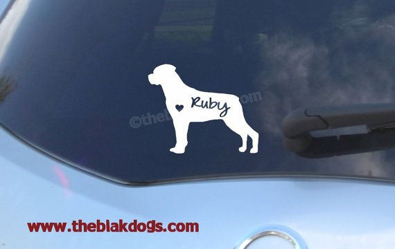 Rottweiler silhouette vinyl sticker personalized car decal