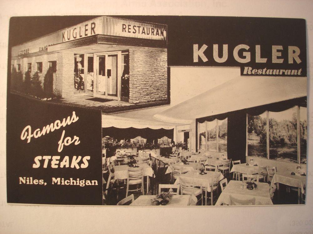Vintage Postcard Niles Mi Kugler Restaurant Niles Michigan Niles Michigan