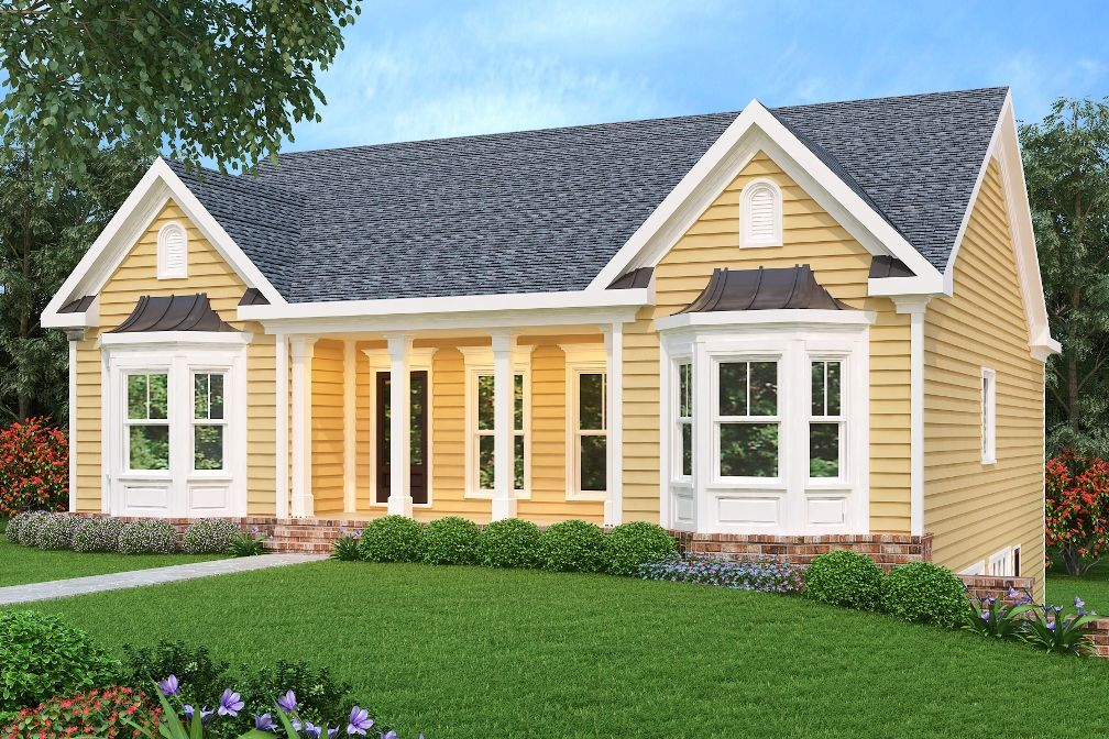 This Ranch House Plan Features A Stylish And Balanced Exterior With Opposing Bay Window Inserts Horizon Ranch House Plans Ranch Style Homes Duplex House Plans