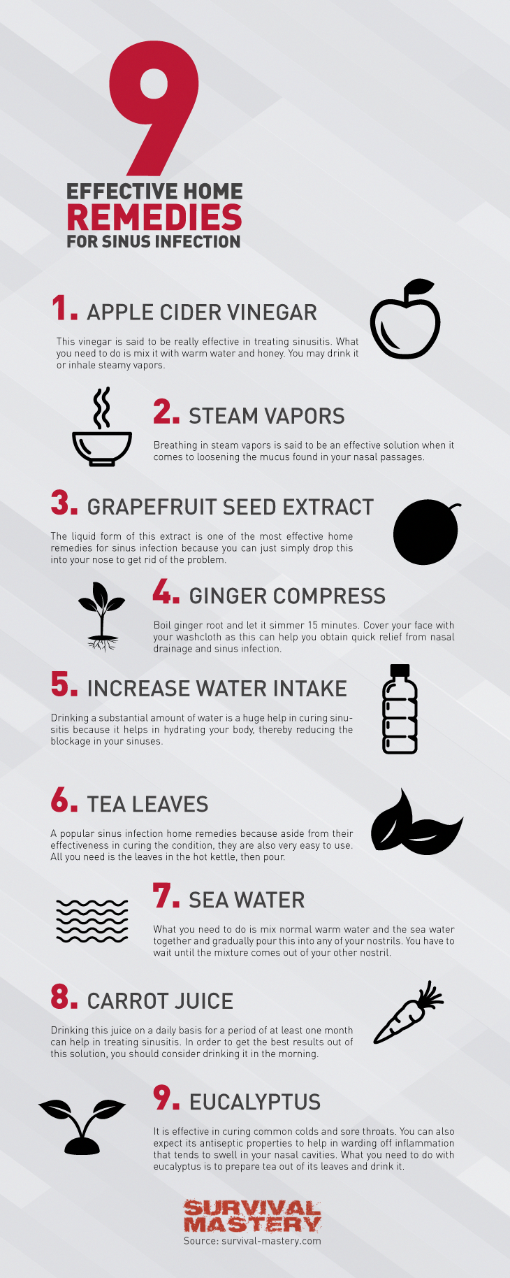 Types of home remedies for sinus infection infographic