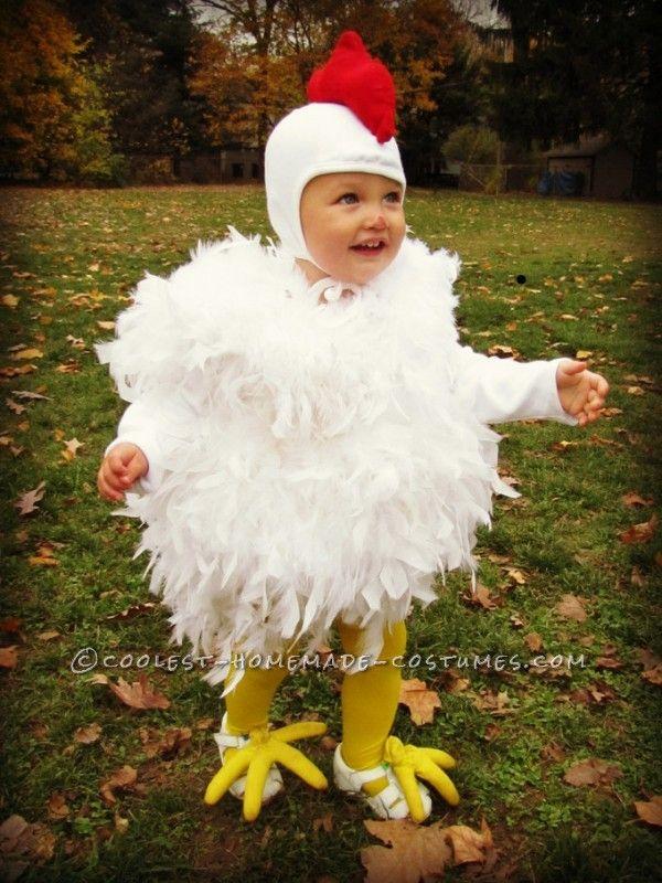Cutest chicken homemade costume homemade costumes for Homemade halloween costumes for toddlers