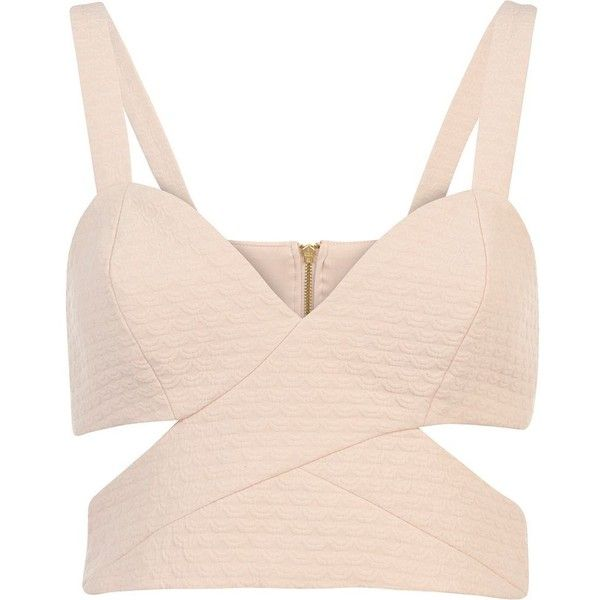 River Island Pink jacquard cut out strappy bralet ($38) found on Polyvore