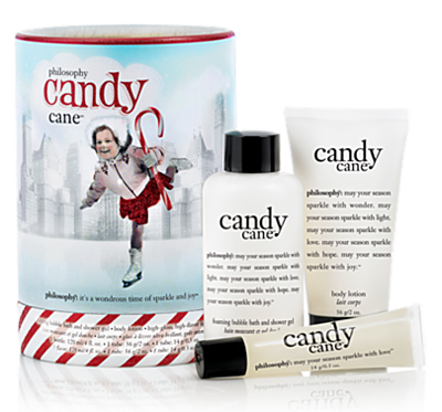 Philosophy candy cane scented items- This scent is exactly like its name. If you opened a candy cane or a peppermint, the smell you get then is what this smells like. It's great in a shower gel or lotion to wake you up, nice in the lip gel because it tingles your lips, and in the hand cream I like it because peppermint is a natural energizer, and when you put this on your hands you can take a deep breath of your hands and get a little pick me up.