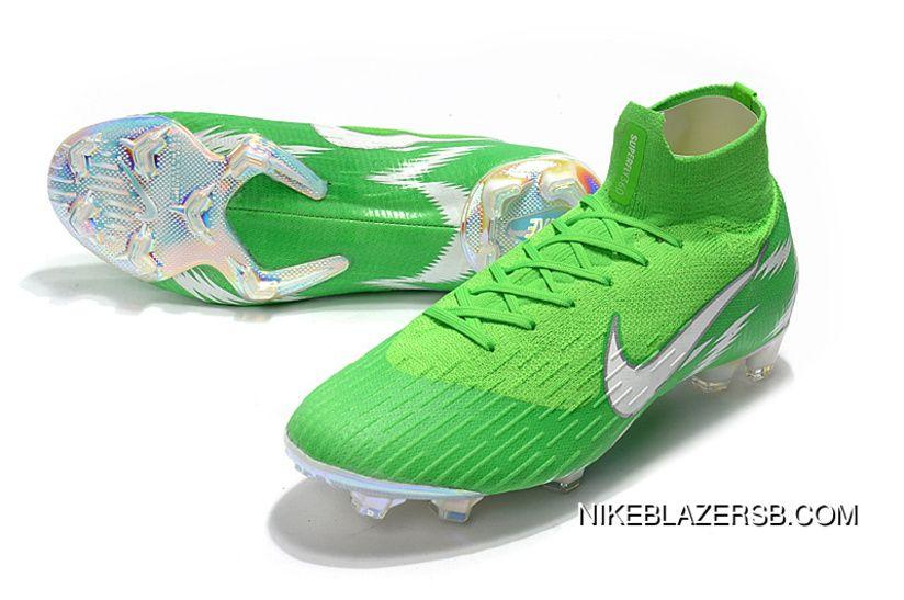 a852613fcbbb Women Men ArrivED2018 The World Cup Nike High Mercurial Ten 2.0 Green  Silver Knitting Flyknit 360 Technology Waterproof Fg Nail Soccer Shoes  Mercurial ...