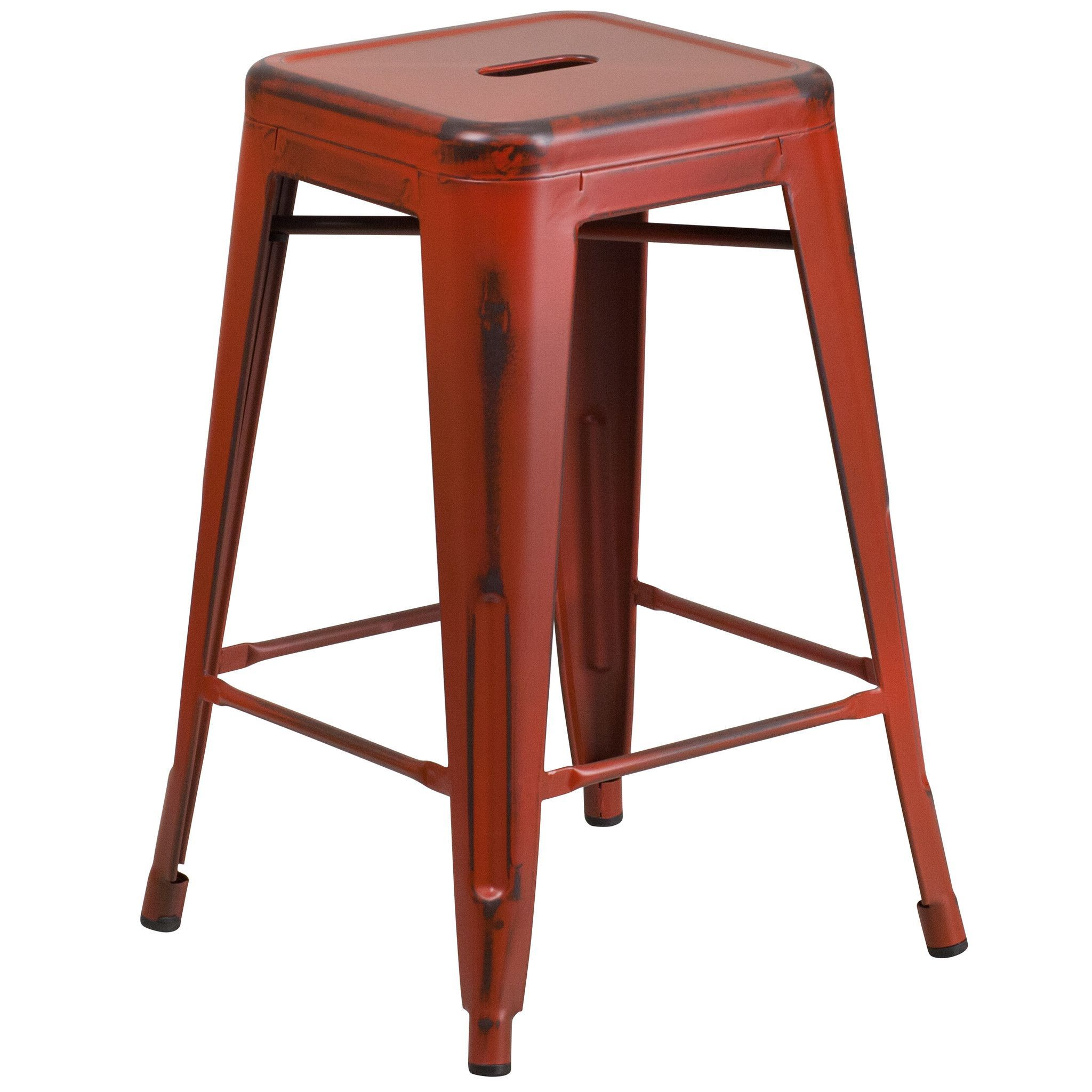 Flash Furniture Distressed Red Metal Stool [ET BT3503 24 RD GG