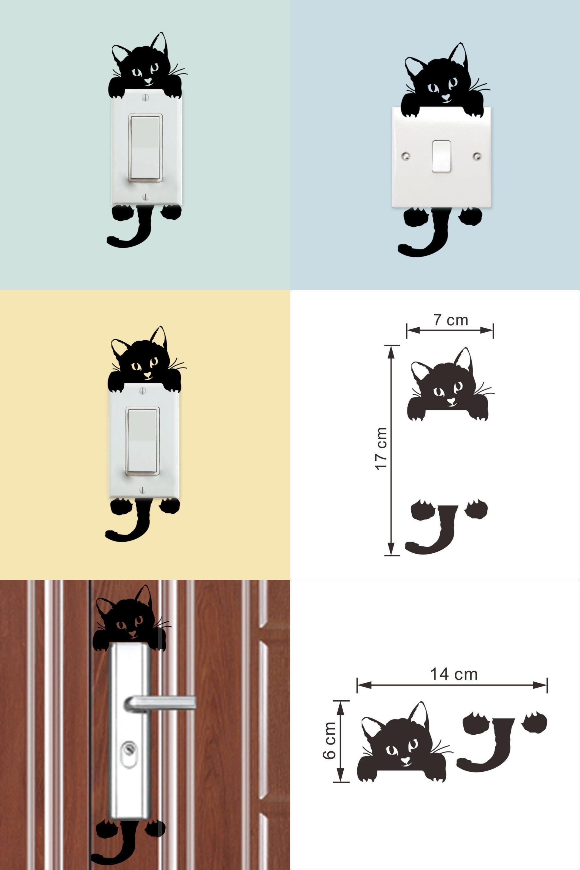 Visit to Buy] Hot Sale Black 14cm*6cm Cute Cat Switch Decal Vinyl ...