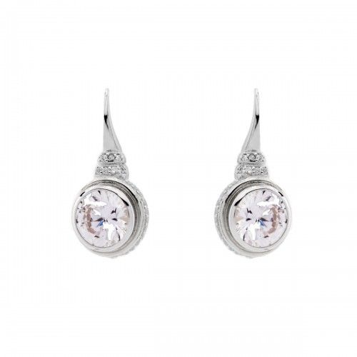 Zjoosh - Rhodium CZ Earrings on Sybella Hook: available in 925 sterling silver, rose gold plate & yellow gold plate.