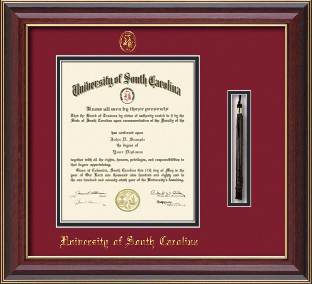 USC Upstate Diploma Frame-Cherry Lacquer-w/USCU tassel-garnet/black ...