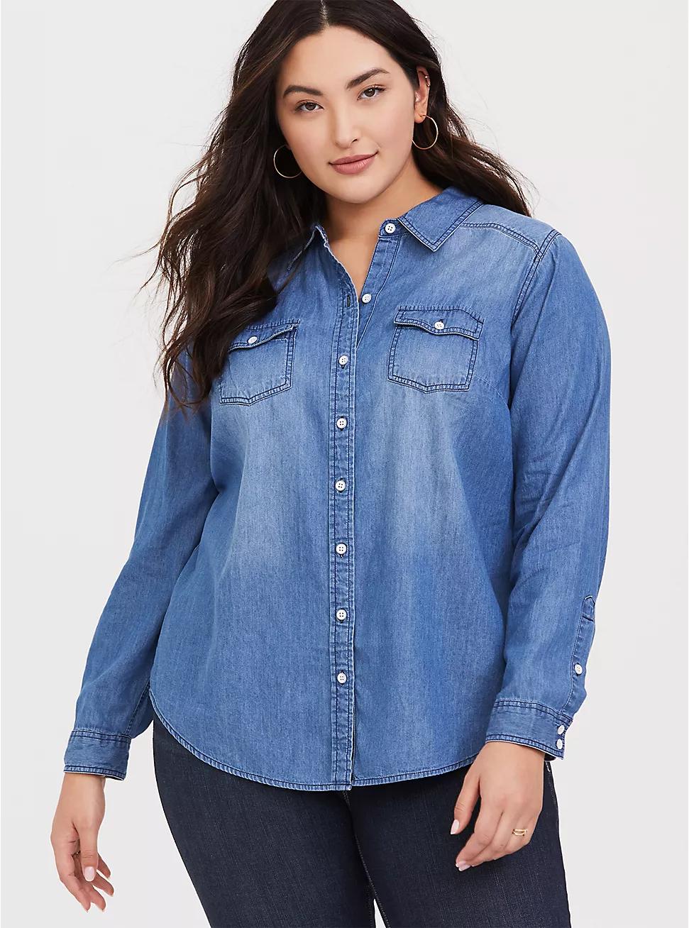 denim jean button down shirt blouse womens medium