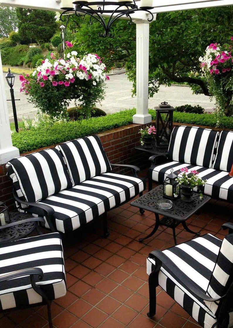 Designer Outdoor Cushion Cover Black White Stripe Welt Piping Etsy White Patio Furniture White Outdoor Furniture Patio Furniture Cushions