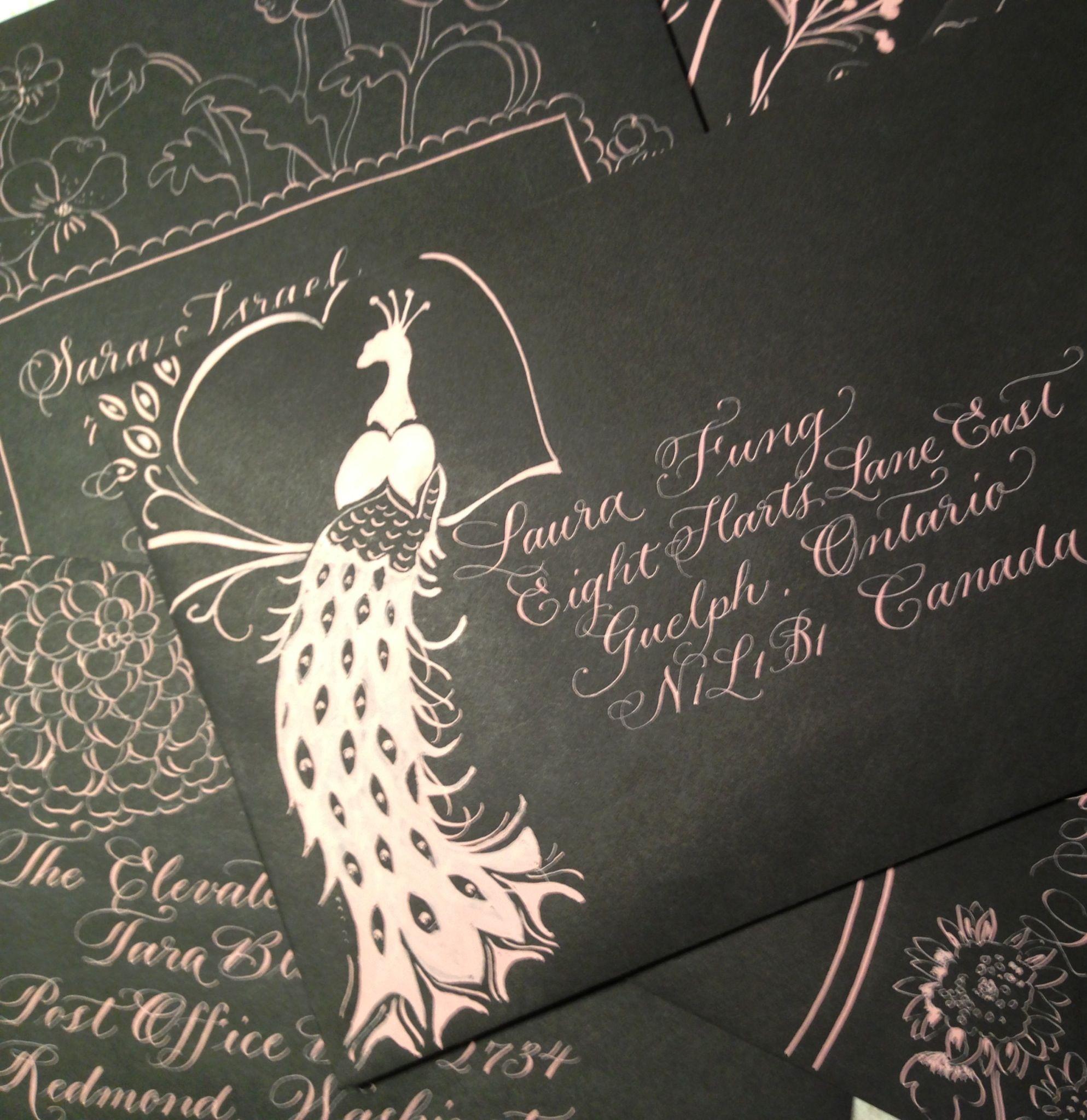 Decorated envelope, pink calligraphy, black envelope
