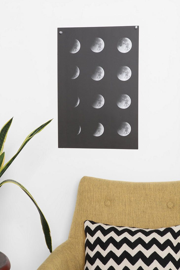 Moon phase poster decor crush pinterest moon phases cafe shop