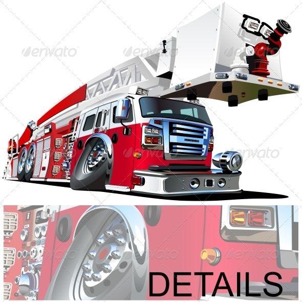 Vector Cartoon Fire Truck Firemen Alarm Alert Auto