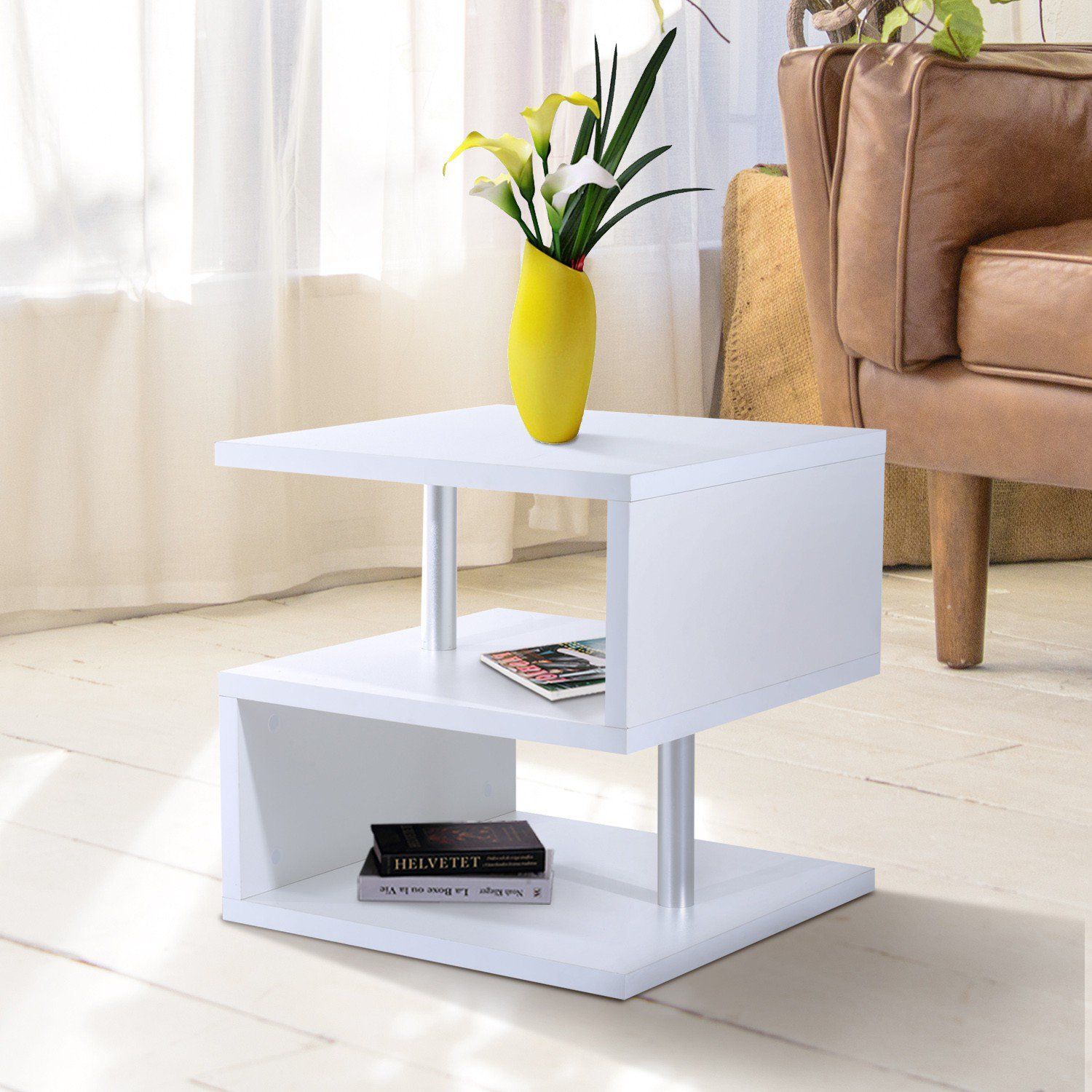 Homcom Wooden S Shape End Table 3 Tier Storage Shelves Organizer Living Room Side Table Desk White Table Furniture Home Decor