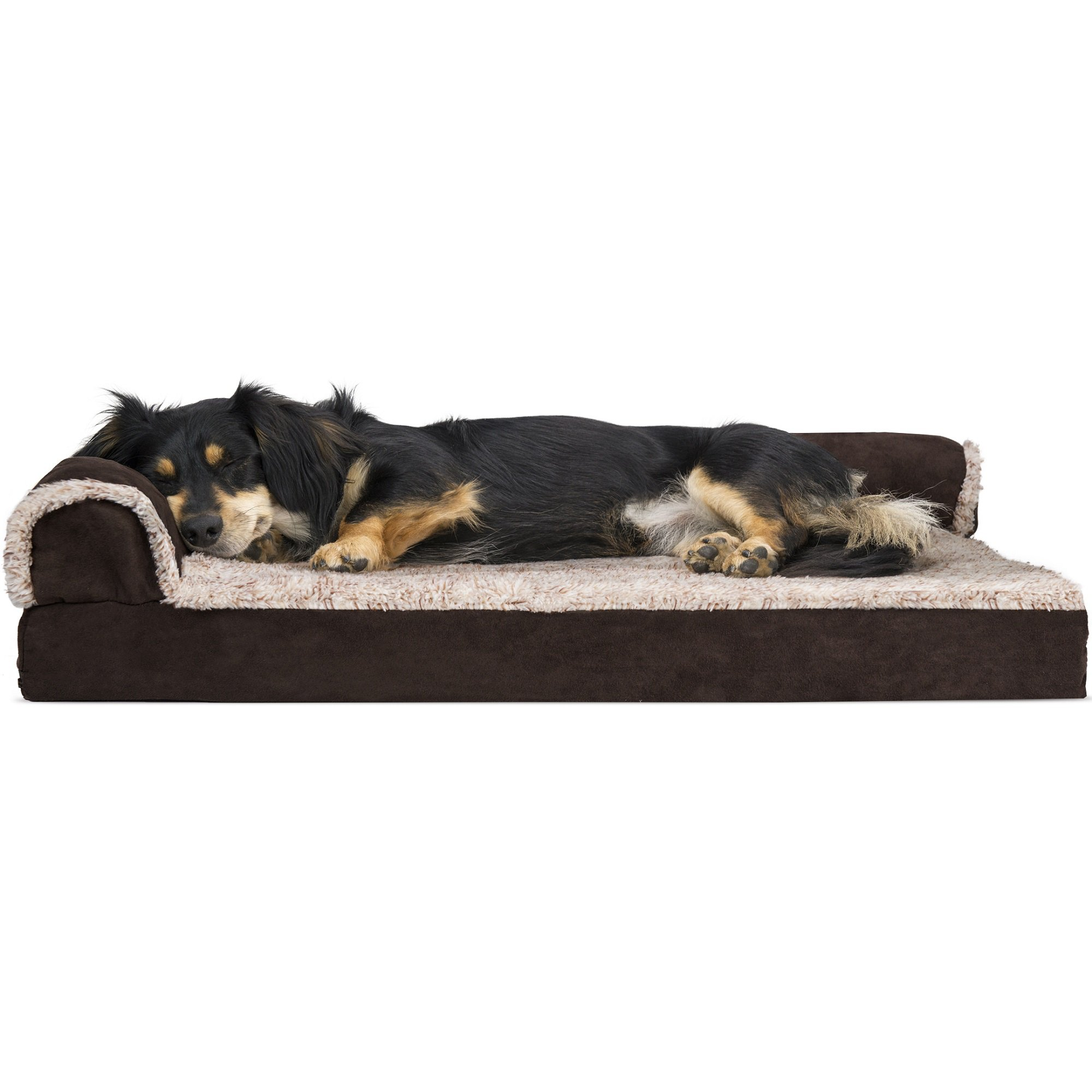 Furhaven Two Tone Faux Fur Suede Deluxe Chaise Lounge Orthopedic Sofa Dog Bed Espresso 30 L X 20 W Petco Dog Pet Beds Cool Dog Beds Orthopedic Dog Bed