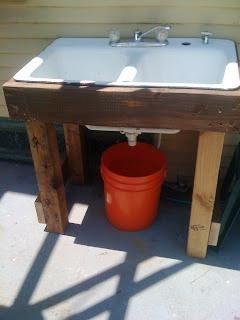 Sweet And Simple Grey Water Can Be Used In The Yard Gartenwaschbecken Terrasse Aus Paletten Gartenprodukte