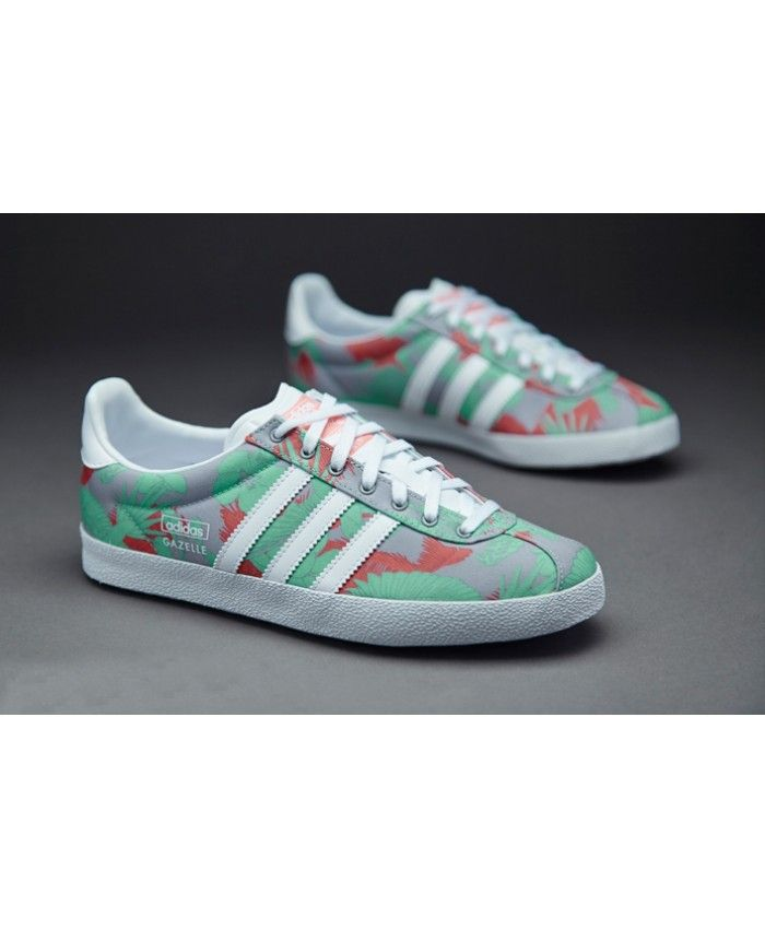 827fb6dc756f7 Adidas Gazelle OG Cool Grey Green Red Custom Trainer Very popular color