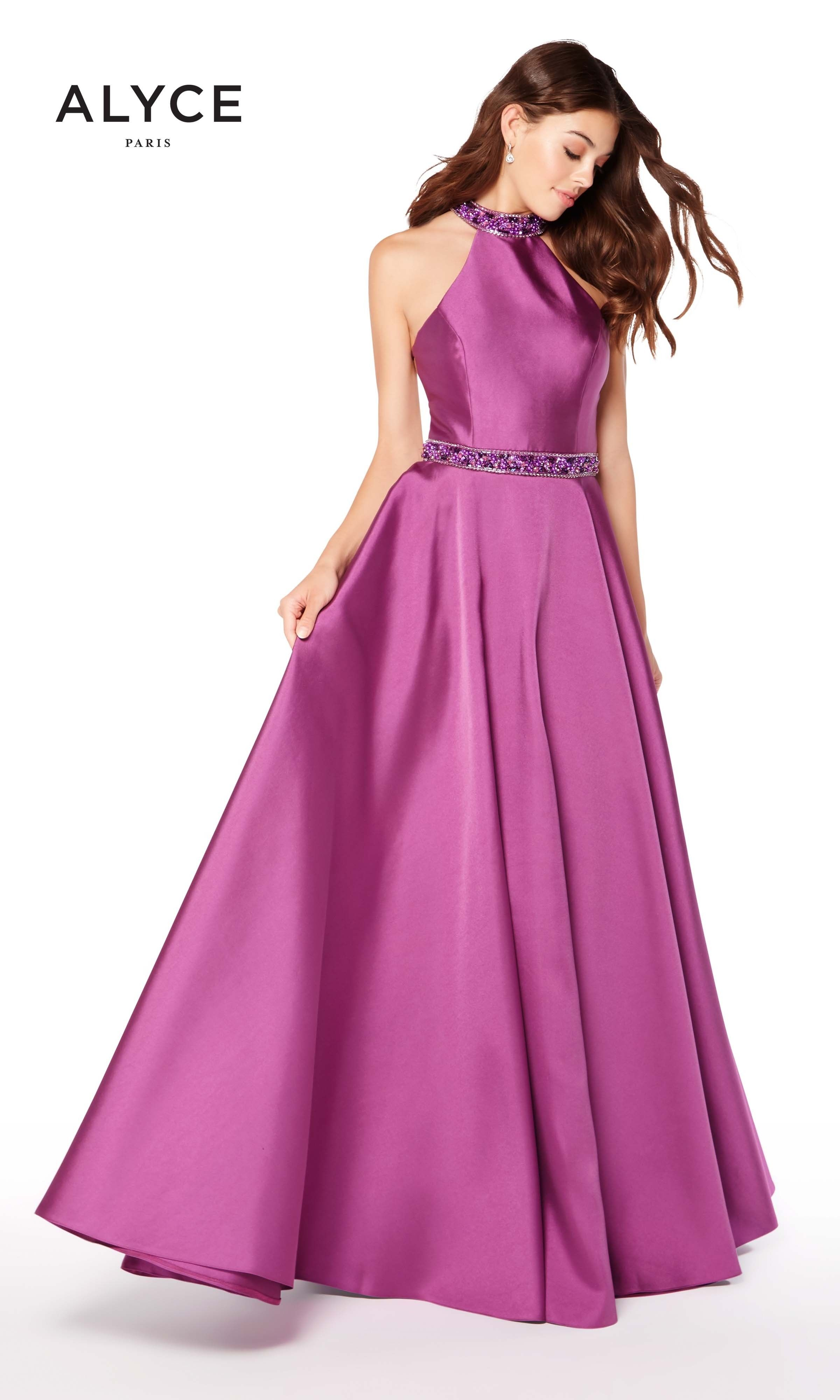 Alyce 60104 Relaxed Ballgown with Open Back and Gem Belt