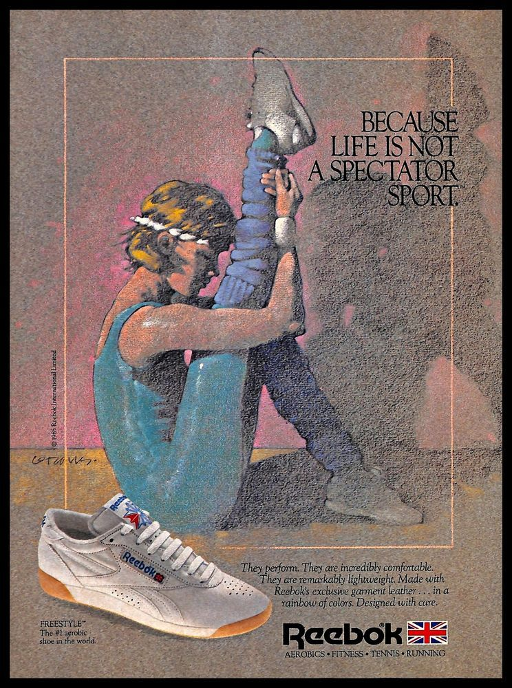 1306575d8088ea 1985 Reebok  Sport  Shoes  Vintage  PRINT  AD  Athletic  Fitness  Footwear   Drawing  1980s  Reebok