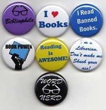 """Button Pinback Badge 1.5/"""" Books Reading READ THE BOOK"""