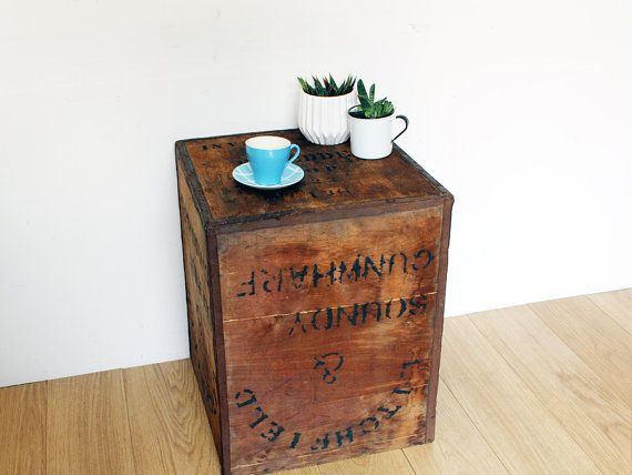 Vintage Tea Chest Shipping Crate Side Table Coffee Bedside