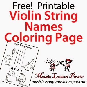 Free Violin Strings Printable Coloring Page. Uses animals to teach ...