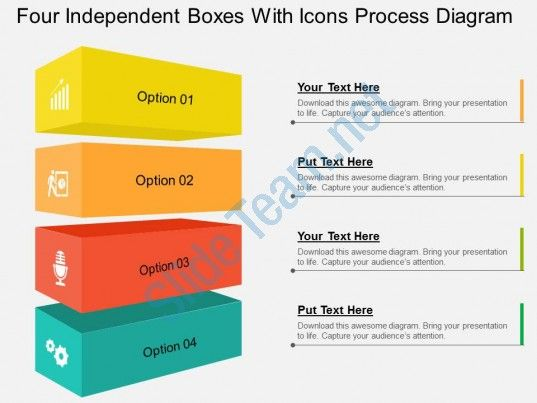 Four Independent Boxes With Icons Process Diagram Flat Powerpoint
