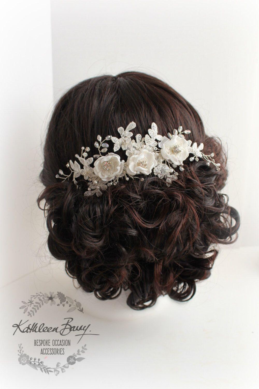 r780 floral lace bridal hair comb - veil comb - handmade flowers