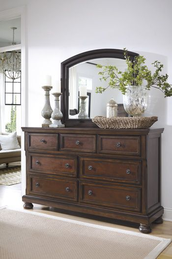 A Beautiful Dresser And Mirror Set From Ashley Furniture For The Perfect  Vintage Casual Style In A Dark Cherry Color. Other Features Include Dark  Bronze ...