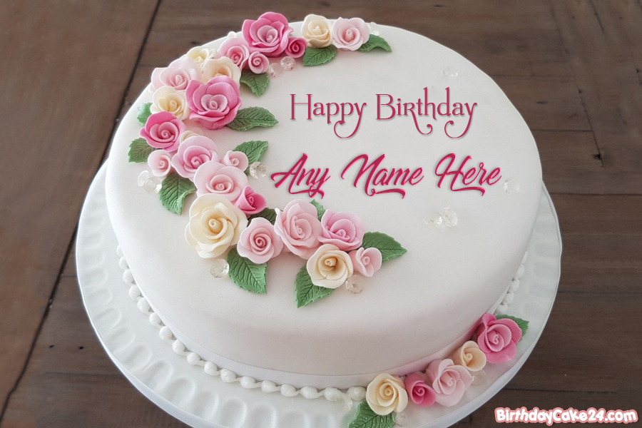 Pink Rose Flower Birthday Cakes With Name Generator Birthday Cake With Flowers Happy Birthday Flower Cake Birthday Wishes Cake