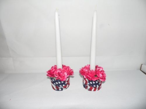 United States Flag Candle Holders with Taper Candles