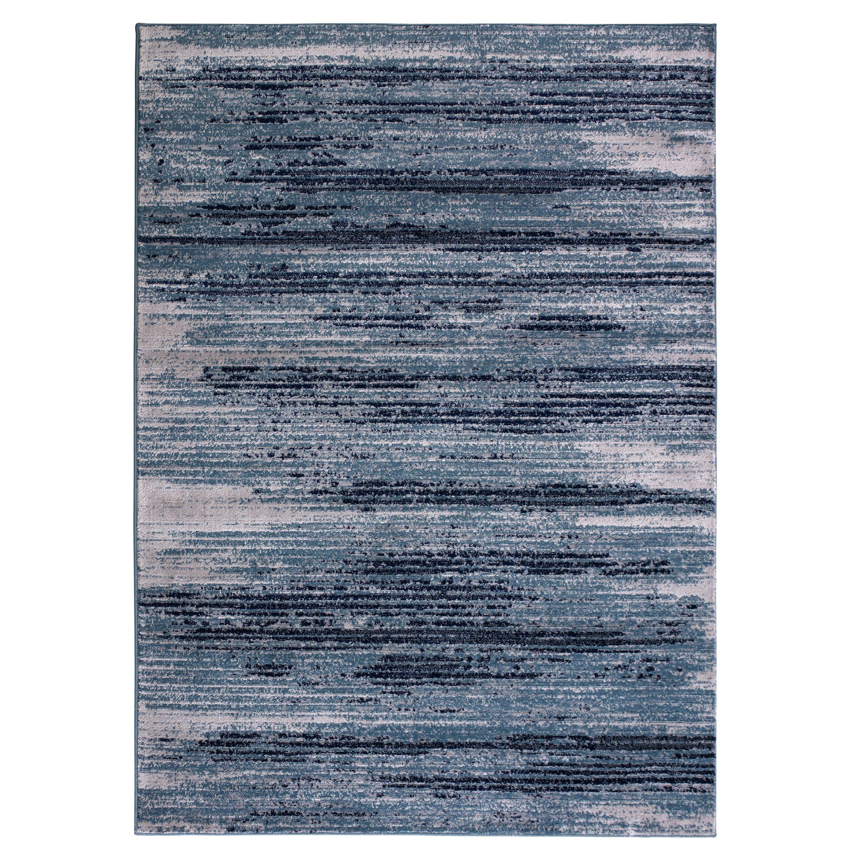 Jasmin Collection Sage Beige Polypropylene Stripes Area Rug 5 3 X