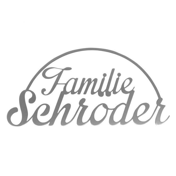 thorwa design edelstahl schild mit hausnummer und familiennamen familienschild namensschild. Black Bedroom Furniture Sets. Home Design Ideas