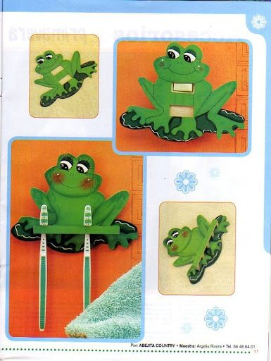 pintura madera goma eva revistas ranas baos molde animales artesanas animals