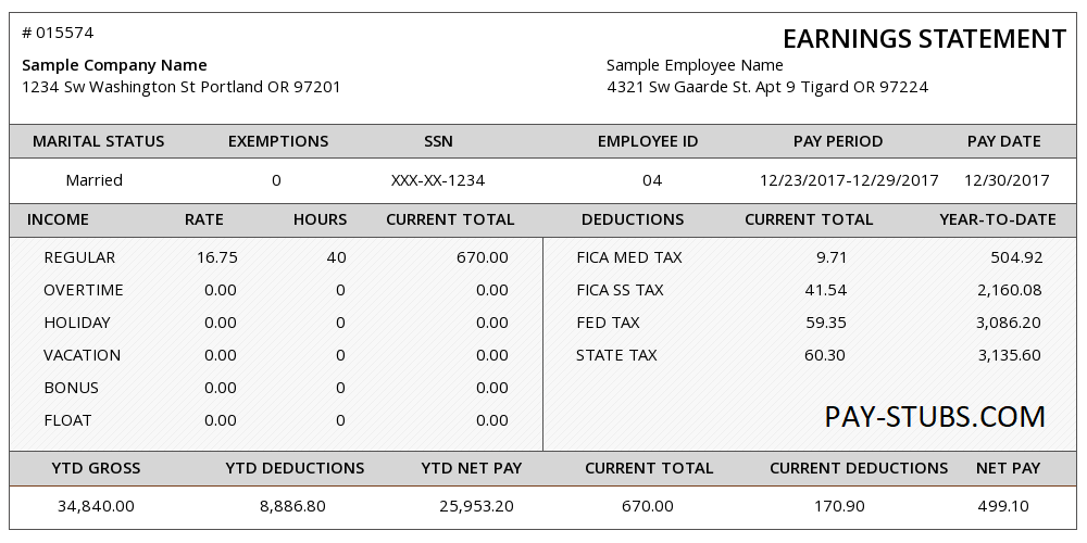 Pay Stubs Generator Payroll Template Income Statement Statement Template