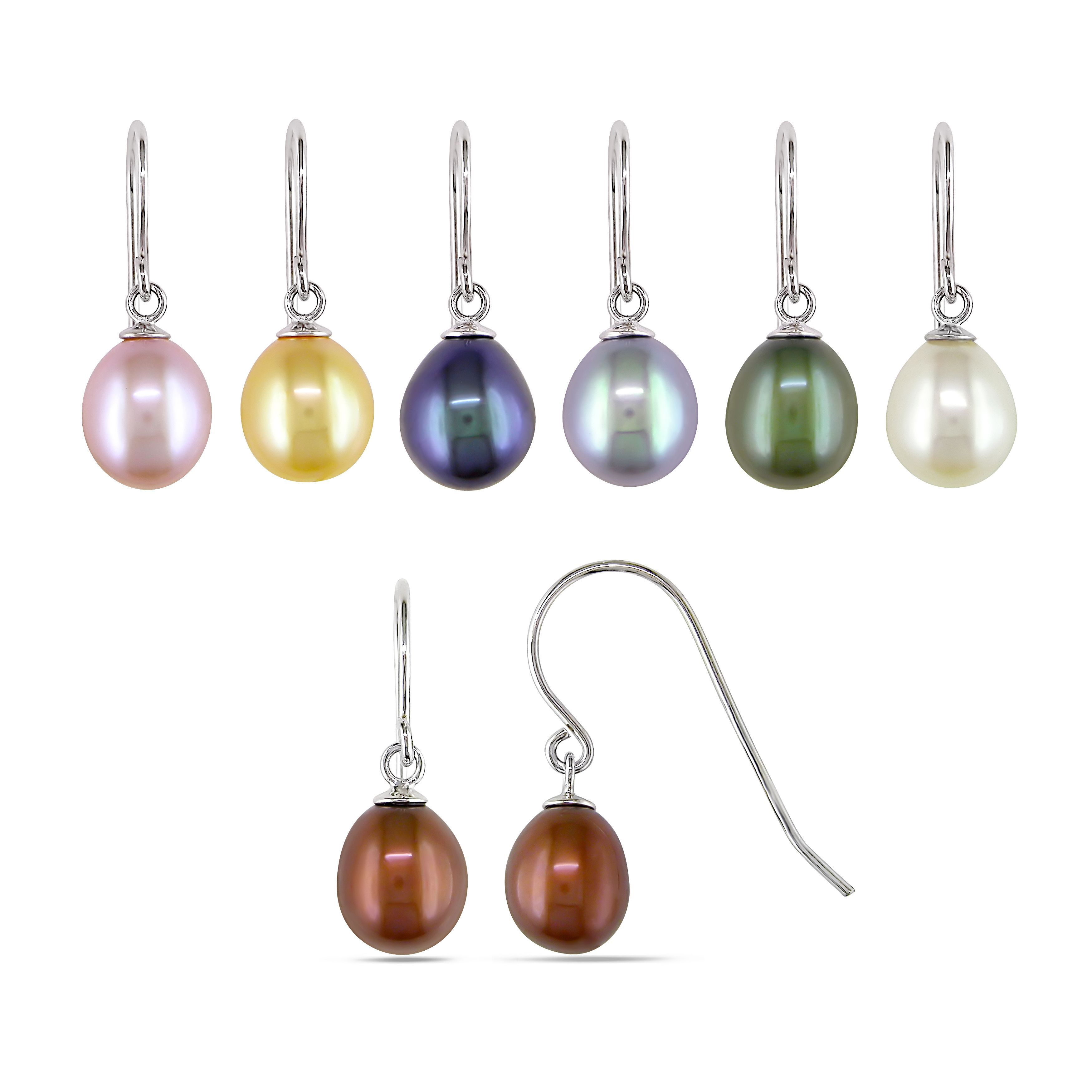M By Miadora Sterling Silver 7pc Set Of Freshwater Multi Colored Pearl Dangle Earrings