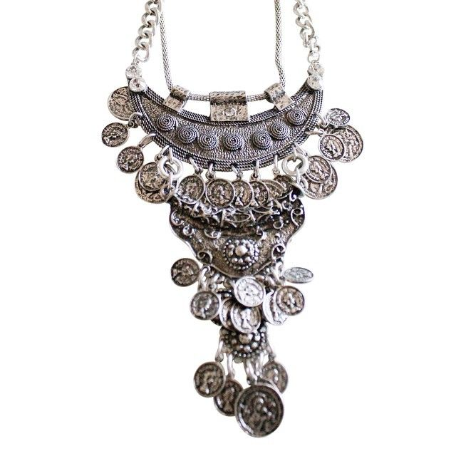 Silver Boho Bohemian Coin Statement Necklace alistjewelry.com COMING SOON! Follow us on Instagram @a_list_jewelry for updates!